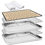 Baking Sheet 55 PCS Baking Sheet Set with 2 PCS Stainless Steel Baking Pans & Cooling Rack,Silicone...
