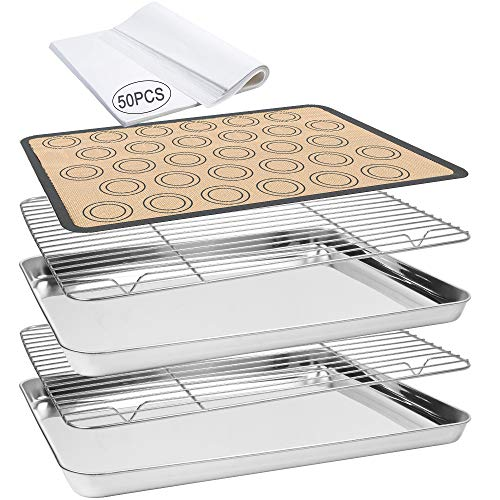Baking Sheet 55 PCS Baking Sheet Set with 2 PCS Stainless Steel Baking Pans & Cooling Rack,Silicone Baking Mat & 50 Parchment Papers Oven Safe Dishwasher Safe