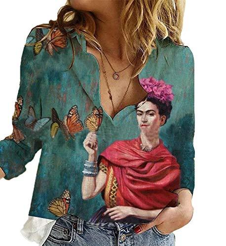 Mujeres Casual Lino Algodón Tallas Grandes Blusa de Pintura al óleo Respirable Manga enrollada Cuello en V Suelto S-XXXXXL