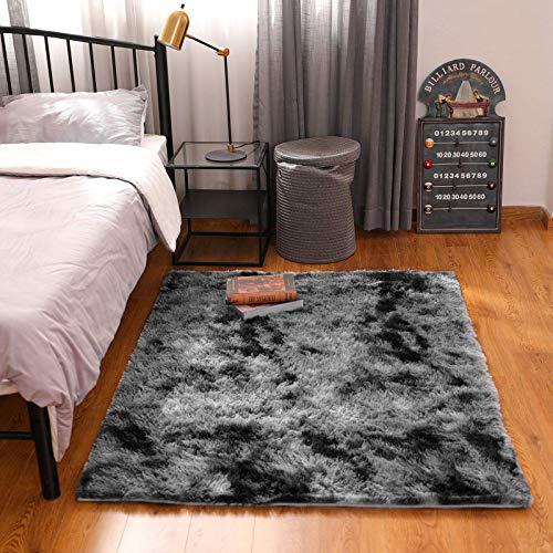 BAYKA Fluffy Machine Washable Area Rug Indoor Ultra Soft Shag Area Rug bedroom or dorm room, Non-Slip Floor Carpet for Kids Home Decor Nursery Rug 4x5.3 Feet Black/Grey