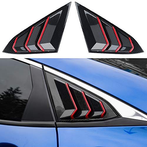 Thenice for 10th Gen Civic Racing Style Rear Side Window Louvers Air Vent Scoop Shades Cover Blinds for Honda Civic Sedan 2021 2020 2019 2018 2017 2016 -Carbon Fiber Red