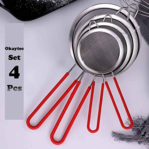 Okaytec Set di 4 Scolapasta da Cucina - Colino Acciaio Inox con Maglia Fine - Setacci per Farina Quinoa Amaranto - Colini Misure di 8/12/16/22 cm Diametro