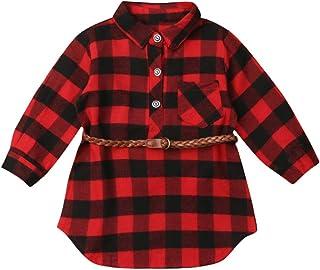 Young Forever Chemise à carreaux pour bébé fille - Manches longues avec ceinture - Tunique - Sweatshirt - Chemise à carrea...