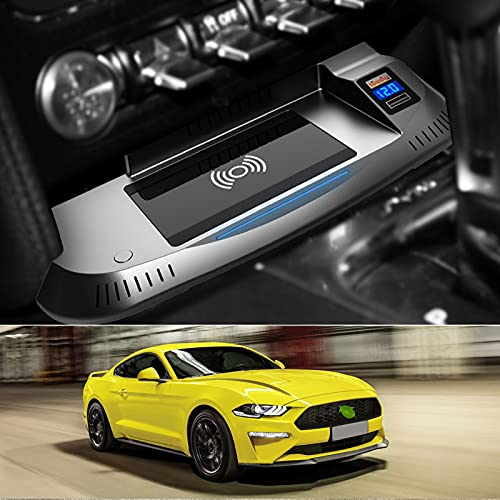 JUSTGJS Cargador inalámbrico para Coche Compatible con Ford Mustang 2015-2021 Panel de Accesorios de Consola Central, Qi 15W MAX, con QC3.0 USB Compatible con iPhone, Samsung, Puerto USB