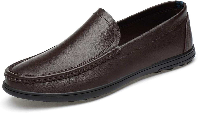 Easy Go Shopping Komfortable Leder-Fahrschuhe für Herren Atmungsaktive perforierte Flache Müßiggänger Lässige leichte runde Zehe Slip-On,Grille Schuhe  | Nutzen Sie Materialien voll aus