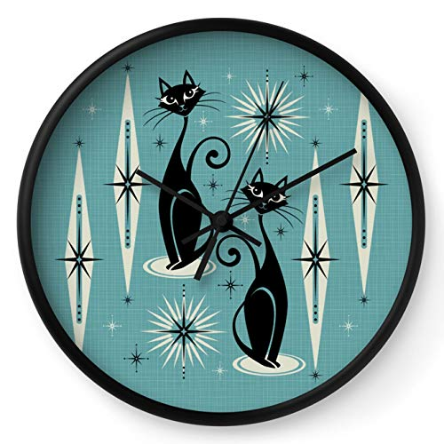 Mid Century Meow Retro Atomic Cats On Blue by Studioxtine on Wall Clock - Black - Black