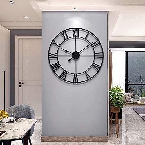 LUNANA Reloj de Pared silencioso, números Romanos, para Decoración de Hogar - diámetro 50 cm/80cm (Negro)