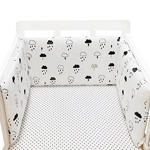 AIHOME Valla de una pieza para cuna de bebé, protección de cama de algodón barandilla de parachoques de la cuna de la cama de los carriles para los niños