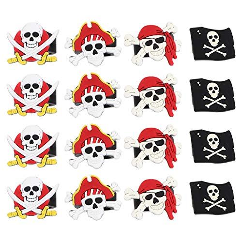 Amosfun 16 anillos de pirata de Halloween, lindos anillos de dedo pirata de goma, suministros de fiesta de Halloween para niños y niños