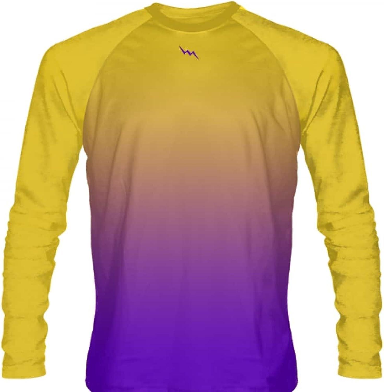 LightningWear gold Purple Fade Ombre Long Sleeve Shirts Basketball Long Sleeve Shirt  Adult & Youth gold Purple Basketball Shirts  gold Purple Fade Ombre Long Sleeve Shirts Basketball Shirts