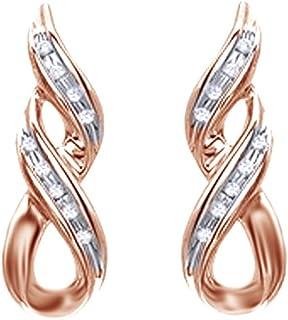 Orecchini a spirale per donne e ragazze in argento Sterling 925 con diamante naturale bianco a taglio rotondo