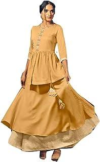 Indian Yellow Cotton Stylish Casual Formal Occasion Salwar Kameez Muslim Kaftaan Hizaab Suit Set 903/E