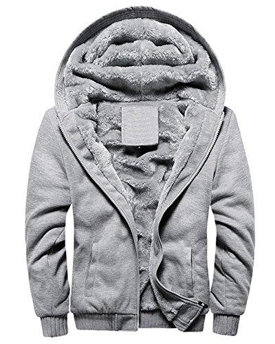 Minetom Herren Winter Warm Vlies Gefüttert Kapuzenpullover Baumwolle Mäntel Weich Jacken Sweatshirts Mit Kapuze Outwear (EU L, Grau)