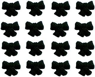 12pk Edible Shimmer Super Black Ribbon Bows Cake / Cupcake Sugar Decoration Toppers