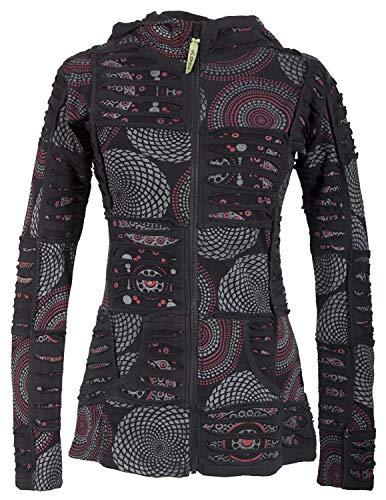 Vishes ? Alternative Bekleidung ? Kurze Damen Patchworkjacke Baumwolle Zipfelkapuze Cutwork Unikat schwarz 52