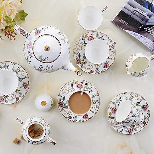 Porcelain Coffee Pot Set Guci 21 Pieces Afternoon Tea Set Bone Porcelain Coffee Cup and Plate Set Wedding Ceramic Tea Set Household-A