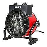 STIER Keramik Heizlüfter 3,0 kW, IP20, leise, stufenlos, Heizstrahler, Heizer,