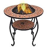 Tidyard Table de Foyer Mosaïque | Foyers et Braséros 68 cm Céramique Terre Cuite