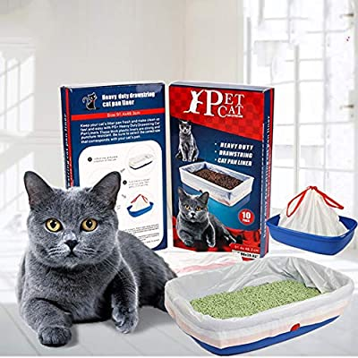ZOSEN Durable Cat Litter Box Liners with Drawstrings, Big Size Cat Litter Pan Bags Toy Storage Bag (91.4×48.3cm, 10 Pieces)