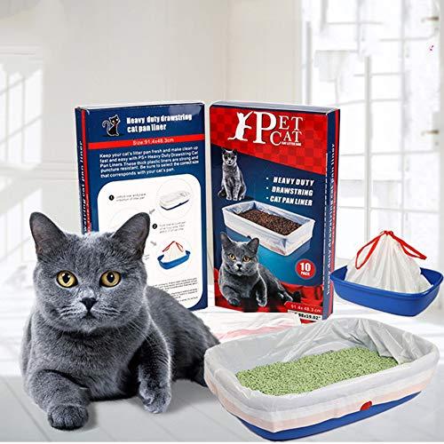 ZOSEN - Resistenti fodere per lettiera per gatti con coulisse, grandi dimensioni (91,4 × 48,3 cm), 10 pezzi.