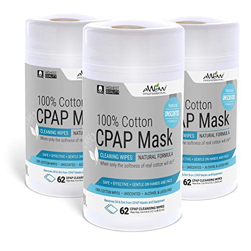 AWOW Professional CPAP Mask Cleaning Wipes, 186 Unscented Cotton CPAP Mask Wipes | Perfect for Your CPAP Accessories Kit