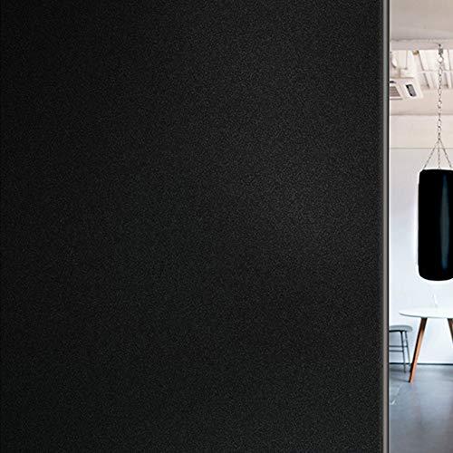Shackcom 目隠しシート 90*400cm 「窓用 フィルム 水だけで貼るタイプ 真っ黒の砂柄」遮熱 完全遮光 不透明...