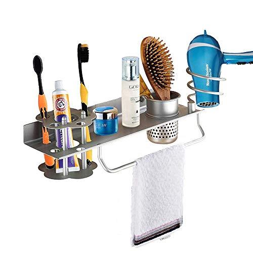 Soporte de pared para secador de pelo, toalla, cepillo de dientes y pasta de dientes, perfume, organizador de almacenamiento, estante para colgar, organizador de baño con soporte para toallas