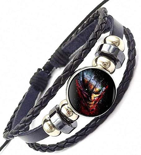 LKLFC Necklace for Women Men o Suicide Joker Personality Black Glass Leather Bracelet Bangle Jewelry for Girls Statement Maxi NecklacePendant Necklace Girls Boys Gift