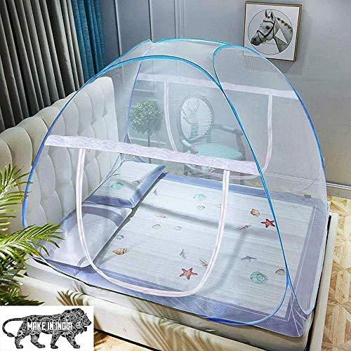 HOPz Mosquitera para cama de matrimonio tamaño king plegable niños mosquitos con adultos Maskito de 6 salvadores Mosquito-Net Mosquito/Machhardani (azul/cama doble king size) (azul, cama king size), color azul