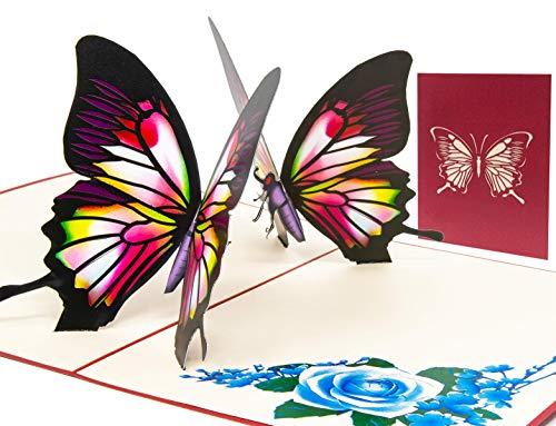 LIMAH® Pop Up 3D Schmetterling-Karte, Glückwunschkarte, Freundschaftskarte, Geschenkkarte, Geburtstagskarte, Überraschungskarte für Jungen und Mädchen (Rot)