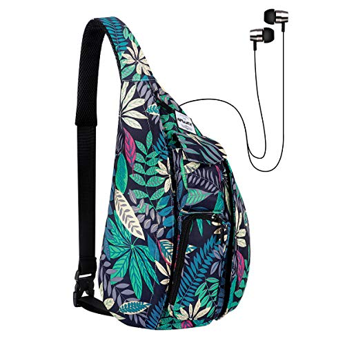 HAWEE Sling Backpack Chest Bag Sports Travel Crossbody Daypack for Women, Maple Leaf
