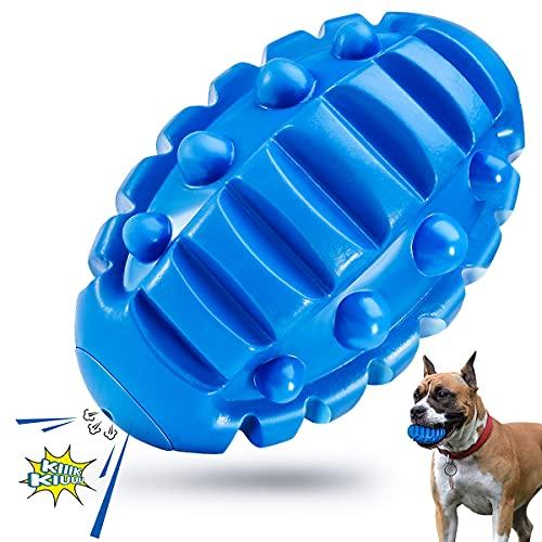 Feeko Squeaky Dog Chew Toy für Aggressive Chewers Große Rasse, Fast unzerstörbar, langlebig Gummi Welpenzähne Reinigungsball mit Quietscher, Tough Pet Toy für mittlere/große Hunde