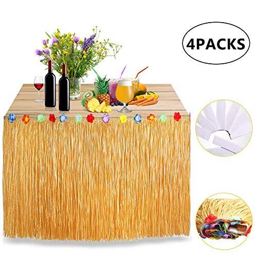 SANBLOGAN Hawaii Deko, Tischröcke Hawaii Hawaiian Luau Tischrock Hibiscus Gras Tisch Rock Party Deko, Tischdecke mit Klettverschluss für Tischdeko, für BBQ Tropischen Strand Tiki DIY Sommer Party Deko