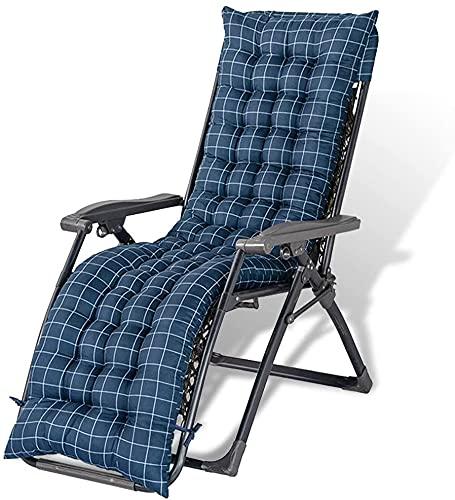 Cojines de silla reclinable de jardín de repuesto gruesos para tumbonas con 6 pares de correas antideslizantes para patio o tumbona de 155 x 48 cm (2 piezas, a cuadros azules)