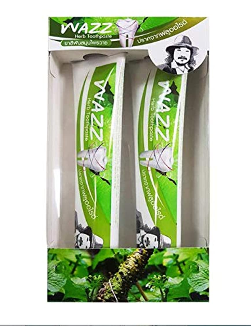 中級お手伝いさん危険なWAZZ Herb Toothpaste Fluroride Free ハーブの歯磨き粉Flororide無料 2 x 100 g.