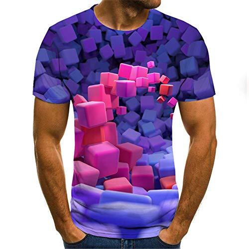Verano Color Tridimensional Cuadrado 3D impresión Digital Cuello Redondo Manga Corta Hombres y Mujeres Camiseta