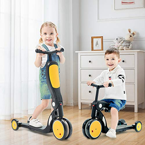 Kids Scooter, 2020 Beberoad 5-in-1 Kids Tricycles for 2-6 Years Old with Foldable Seat and Adjustable Height Handlebar, Lightweight Multi-Functional Boys and Girls Balance Bike(Lemon Yellow)