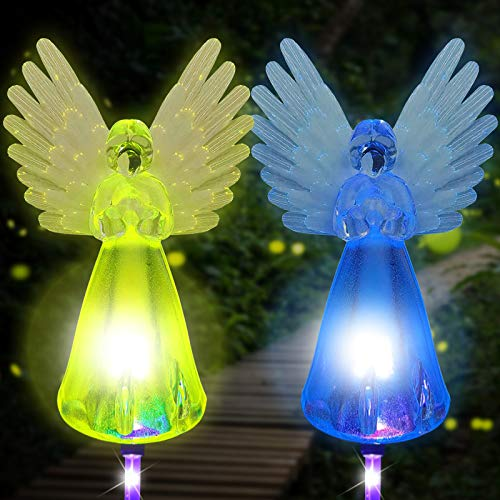 Solar Powered Angel Lights Outdoor, 2 Pack Garden Stake Light Multi-color Changing LED Waterproof Lawn Decorative Light for Patio Yard Landscape Cemetery Grave, Memorial Gifts for Loved Ones