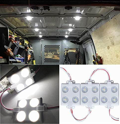 12V 40 LEDs Van Interior Lights White LED Lamp Waterproof with LED Project Lens for LWB Van Boats Caravans Trailers Celling Light