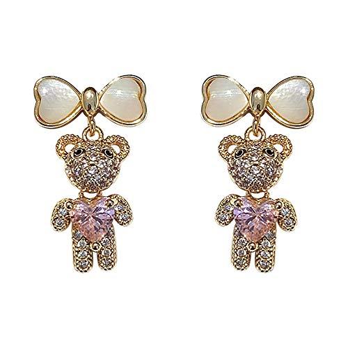 Pendientes colgantes de gota de plata con diamantes de imitación y lazo de oso de amor para mujeres y niñas