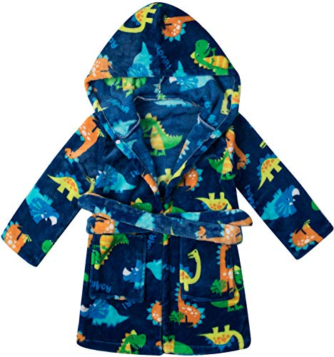Image of Dark Blue Dino Hooded Robe for Toddler Boys - See More