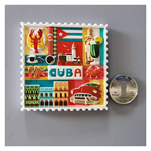 Gzjdtkj Imán de refrigerador World Tourism Fridge Imanes Japón USA Australia Filipinas Holanda España Países Bajos Suecia Malasia Refrigerador Pegatinas (Color : Cuba)