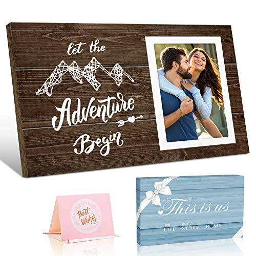 Picture Frame Wedding Gifts for Couples -Let The Adventure Begin- Engagement Gifts for Women Men and Couples, 4x6 Photo