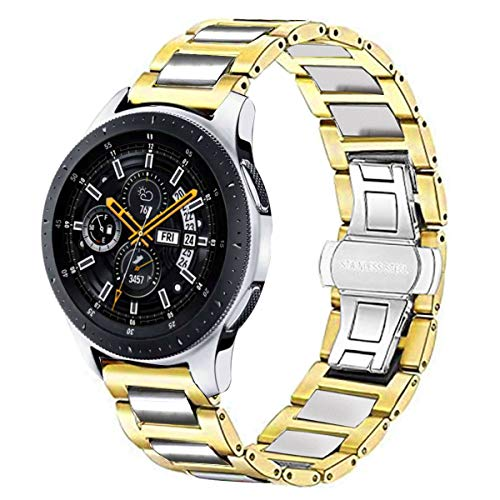 DEALELE Correa compatible con Samsung Gear S3 Frontier/Classic/Galaxy Watch 3 45 mm/Galaxy Watch 46 mm/Huawei GT2 46 mm, 22 mm de acero inoxidable pulsera de repuesto de metal, oro plateado