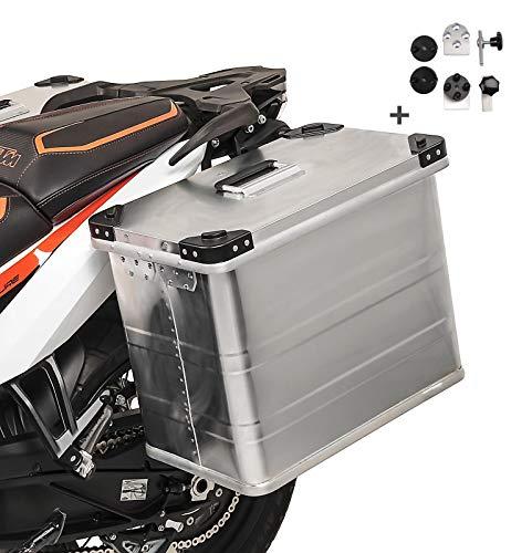 Maletas Laterales Aluminio Bagtecs 1 x 45l + Kit de Montaje para portamaletas de 16mm para Honda Africa Twin XRV 650/750, CRF 1000 L, CB 1100/ EX/RS, CB 1300/ S, CB 300/650 F, CB 500/ F/S/X