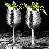 Lot de 2 flûtes en métal incassables - Verres à vin blanc et rouge - Verres à cocktail - Verres à jus de fruits ou de champagne - Verres de bar (500 ml, argentés)