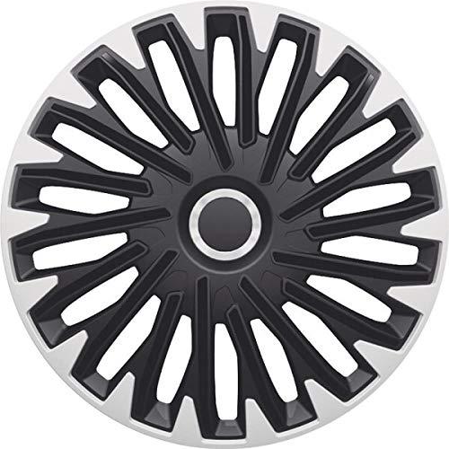 kh Teile Quantum Pro - Tapacubos de 14 pulgadas (14 pulgadas, 2 capas), color negro y plateado