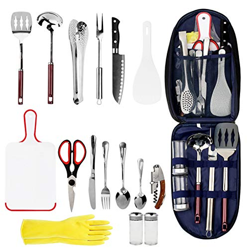 OAOLEER Camping Cookware Camp Kitchen Utensil,16-Piece Stainless Steel Outdoor Cooking and Grilling Utensil Organizer Travel Set Perfect for Travel, Camping, BBQs, Parties, Potlucks and More