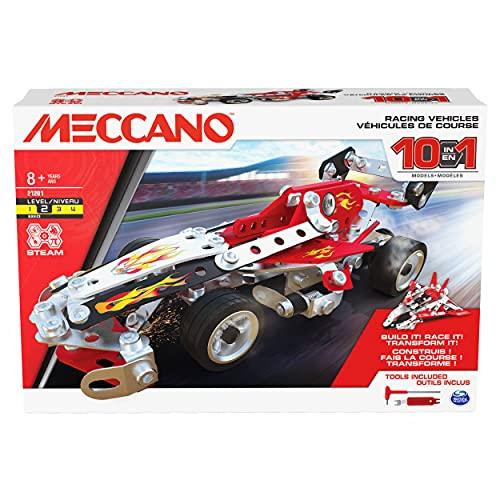 MECCANO Kit de construcción Modelo Stem de vehículos de Carreras 10 en 1 con 225 Piezas y Herramientas Reales, Juguetes para niños para niños de 8 años en adelante