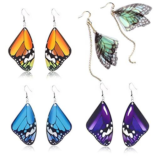 XHBTS 4 pares de pendientes de ala Cicada acrílico mariposa ala gradiente pendientes colgantes para mujer